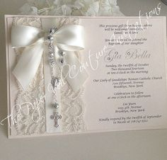 Vintage Lace Rosary Beads Couture Baptism or Communion Invitation - An exclusive one-of-a-kind design by The Paper Veil. This design is
