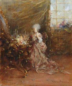 Francesco Longo Mancini - Lady in front of a mirror