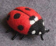 """Купить Валяная брошь """"Божья коровка"""" - ярко-красный, жуки, жук, божья коровка Needle Felted Ornaments, Felt Ornaments, Felt Brooch, Garden Crafts, Felt Crafts, Needle Felting, Ladybug, Insects, Wool"""