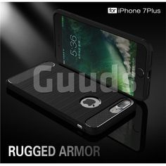 Luxury Carbon Fiber Brushed Wire Drawing Silicone TPU Back Cover for iPhone 8 Plus / 7 Plus 8P 7P(5.5 inch) (Black) - TPU Case - Guuds