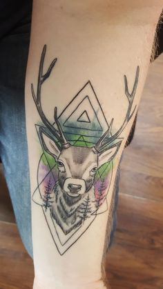 2 weeks on all healed. Still loving my first tattoo. A stag by Natalia at West London Ink Hanwell
