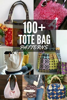 100+ Free Tote Bag Patterns All patterns are free with step by step instructions. The Sewing Loft #sewing #totebag