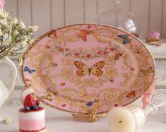 Versace Le Jardin Pink Porcelain Dollhouse Miniature Tray