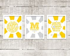 You are my Sunshine personalized set of 3 prints Yellow gray grey Gender neutral baby nursery by MossyJojo