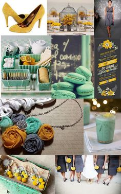 I'm thinking about mustard yellow and mint green now!