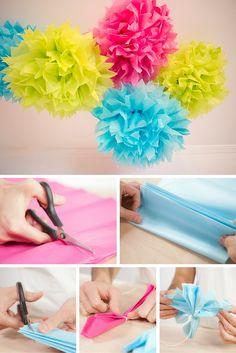 Aprende cómo hacer pompones con papel de seda y decora todo tipo de eventos, desde un cumpleaños hasta una boda. Se pueden colocar en paredes o colgados del techo.