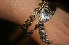 Spoon bracelet with wing charm OOAK repurposed vintage silver spoon