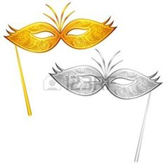 masque carnaval: illustration d'une paire d'or et d'argent masque de carnaval