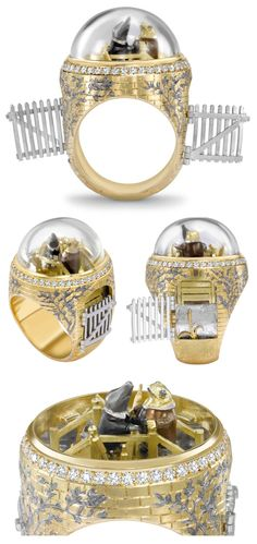 """""""Mole & Toad"""" Wind in the Willows-inspired ring by Theo Fennel. Two tiny figures converse atop a golden bridge underneath a removable rock crystal dome. The bridge is adorned with silver willow..."""