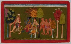 """Sugriva, King of the Monkeys, Leads Krishna, His Brother Lakshmana, and Their Army Through the Forest. Illustrated folio from the """"Shangri"""" Ramayana"""" Series (The Adventures of Rama) (Style III). Opaque watercolor on paper, attributed to India, Jammu (Bahu), Punjab Hills, ca. 1700–1730"""