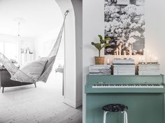 A hammock indoors. And vintage piano painted green.