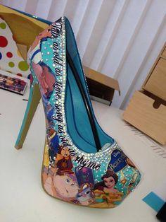 "6"" inspired story book decoupage crystal high heels platform"