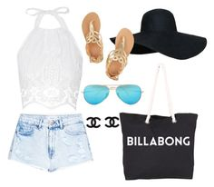 """""""Beach day"""" by stella-19 ❤ liked on Polyvore featuring Billabong, Miguelina, MANGO, Ancient Greek Sandals and Ray-Ban"""