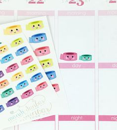24 Colorful Kawaii Washi Tape Stickers – Perfect for Erin Condren, Plum Paper Planner, Inkwell Press, Filofax, Scrapbooking & More