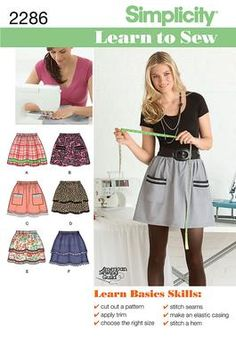 #Simplicity Learn to Sew pattern collection. Misses' pull-on skirts with trim variations. American Sewing Guild. @Carol Spears