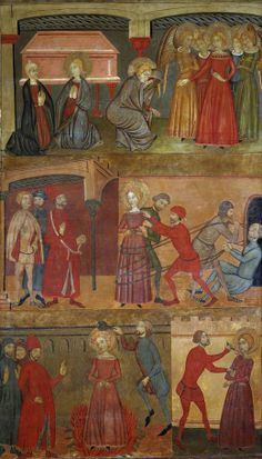 "Retablo de la leyenda de Santa Lucía"", Maestro de Estamariú (1357 - 1385)    Middle panel, cloak lined in plaid on the bias Bottom panel, plaid cotehardie on the bias"