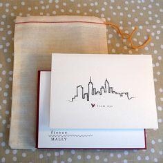 Love from New York City: Skyline Notecard Set. $15.00, via Etsy.