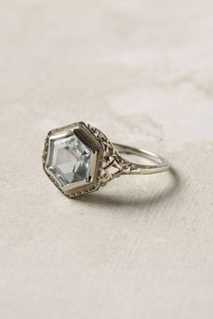 14k white gold vintage deco aquamarine ring | doyle & doyle.