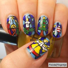 Painted Fingertips | Christmas Stained Glass Nails