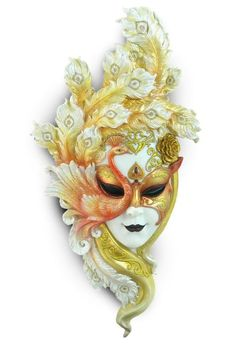 White and gold peacock feathers wall mask