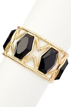 Gold & Black Royal Jewel Statement Stretch Bracelet by Olivia Welles on @HauteLook