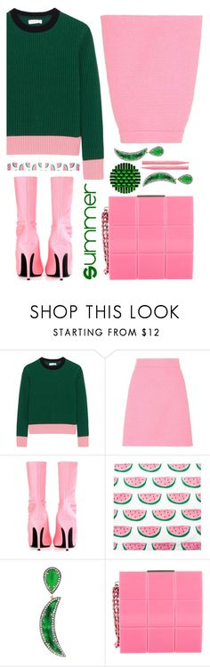 """pink and green"" by sunnydays4everkh ❤ liked on Polyvore featuring Chinti and Parker, Gucci, Balenciaga, Socheec, Chanel and Too Faced Cosmetics"