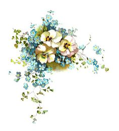 Free Digital Corner Design: Pansies and Forget-Me-Not Clip Art Corner Design