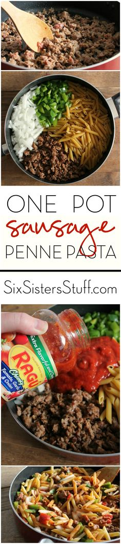 Toss all the ingredients in one pot to cut down on dishes and multiply the deliciousness. One Pot Sausage Penne Pasta by @SixSistersStuff for @ragusauce #OnePotPasta