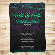 DIY Party Invitations offers beautiful invitations for a memorable double joint birthday. Choose this listing to get your joint birthday invitations for adults. This glamour invitation was created for who love purple and teal.  Thank you for stopping by! This listing is for the creation and delivery of high resolution JPG DIGITAL FILE (digital file invitation only). No physical product will be shipped. The file will be e-mailed to you within 24 hours after all information has been received…