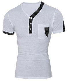 Color Block Dot Splicing Special V-Neck Short Sleeve Men's T-Shirt Cool T Shirts, Tee Shirts, Polka Dot T Shirts, Women's Summer Fashion, Men's Fashion, Mens Clothing Styles, Men's Clothing, Shirt Style, Shirt Designs