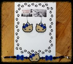Handmade beaded Hello Kitty earring/bracelet set. $30.00 plus shipping