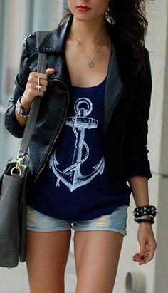 Moto Jacket + Nautical Tee ♥ #anchor #love