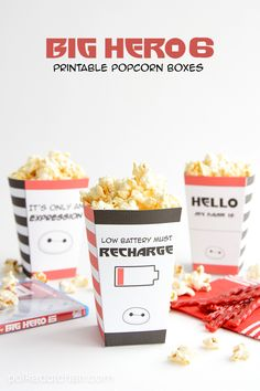 Download these free printable popcorn boxes to make your family movie night more fun. Ideas for family movie night treat, Big Hero 6 party