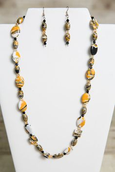 Items similar to Howlite Gemstone and Swarovski Crystal Necklace and Earrings - Bead Jewelry Set - Gemstone Jewelry - Swarovski Crystal on Etsy