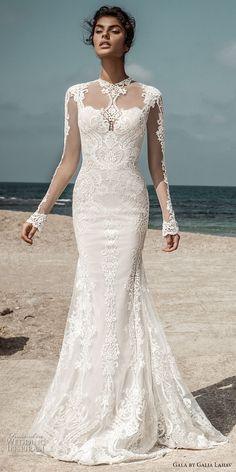 Gala by Galia Lahav 2017 bridal long sleeves illusion high jewel sweetheart neckline heavily embellished bodic elegant lace fit and flare wedding dress open low back sweep train (801) mv #wedding #bridal