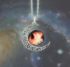♥Galaxy Universe Cresent Moon Necklace ♥. Starting at $8
