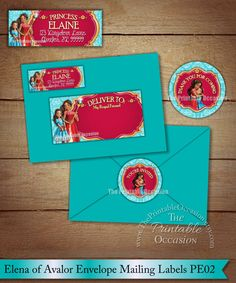 Elena of Avalor Address Labels and Envelope Seal Princess