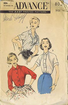 Advance Pattern  Pattern Number 8058  Copyright: 1950's    Vintage 50's Blouse Pattern    Blouse pattern with raglan seamed armhole in front has body and sleeve in one in the back.  Two-way neck line, shirtwaist type collar buttoned up to neck or opened to a V.  Raglan line, collar and cuffs of three-quarter length sleeves stitched for trim.  View 2 short sleeves.  View 3 Blouse with Mandarin collar.  Novelty edging optional.