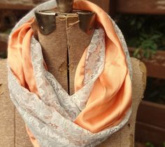 Blue vintage lace infinity scarf with silky orange by PaleDesign, $29.00