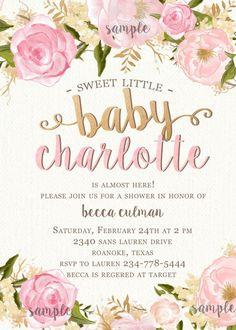 Niña bebé ducha invitación  flores y rosa por RachellesPrintables