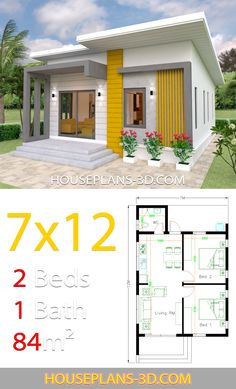 Small House Design Plans with 2 Bedrooms Full Plans - House Plans Simple House Plans, My House Plans, Simple House Design, Tiny House Design, House Floor Plans, Small House Layout, House Layouts, Modern Bungalow House, Bungalow House Plans
