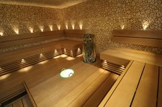 Juniper mosaic on sauna walls! Portable Steam Sauna, Sauna Steam Room, Sauna Lights, Sauna Design, Design Design, Modern Design, Interior Design, Natural Swimming Pools, Natural Pools