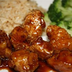 "Bourbon Chicken | ""A favorite named after Bourbon Street in New Orleans, Louisiana and for the bourbon whiskey ingredient; although this dish, sold as Cajun-style cuisine in malls all over America, is reported to be nothing of the kind (not genuine Creole or Cajun fare)! Note: If you double the recipe, make sure that the chicken is still in a single layer. Laissez les bons temps rouler!"""