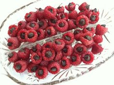 Raspberries filled with Chocolate Chips