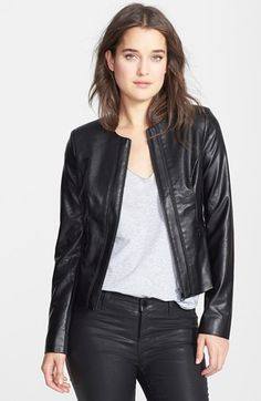 bebe Collarless Faux Leather Jacket (Online Only) available at #Nordstrom