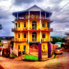 The Yellow House of San Ignacio, Belize. I remember walking past this house everyday! Yellow Houses, Photography Website, Belize, Hotels And Resorts, Travel Inspiration, Past, Walking, Mansions, House Styles