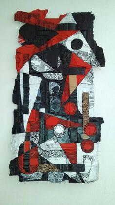 quadro realizzato con cartone a tanti spessori, dipinto con colori acrilici. la realizzazione in cartone è una scelta mirata per dimostrare che con il riciclo si possono creare delle opere artistiche e uniche. il bianco , il rosso e il nero sono colori che rappresentano la Sardegna: