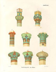 Drawings of the types of the architectural capitals specific for the Ancient Egyptian civilization.