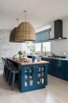The kitchen Carbine built for the 2014 HGTV Smart Home had beautiful Indigo Blue cabinets. We're obsessed w/ Urban Oasis kitchen by designer Brian Patrick Flynn and love LOVE this blue!