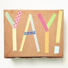 washi tape embellished gift wrap